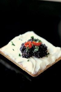 Caviar on a cream smeared cracker