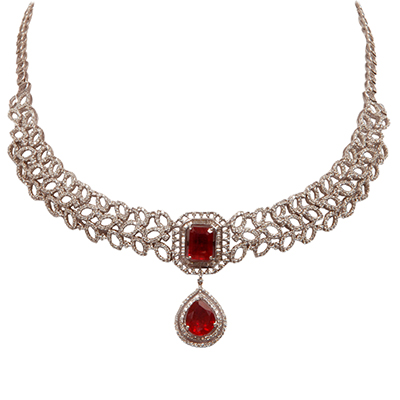 Ghanasingh Be True necklace with diamonds and rubies in 18-carat white gold
