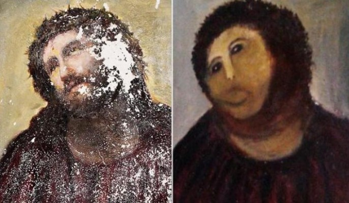A botched restoration of a 19th-century fresco of Jesus (affectionately known as Beast Jesus) in 2010 has been declared as 'memeable art' by Huffington Post thanks to its spread-ability element