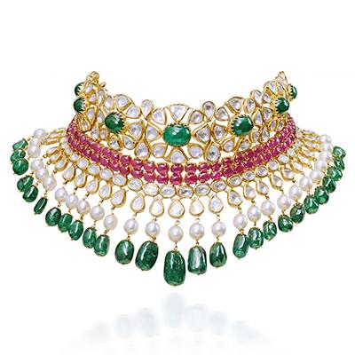 Mahesh Notandass Fine Jewellery choker with uncut diamonds, pearls and coloured gemstones
