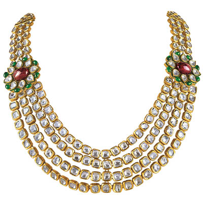 Minawala necklace with polki, rubies and emeralds, in 18-carat gold