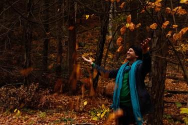Parmesh Shahani enjoying the fall foliage in the Berkshire mountains
