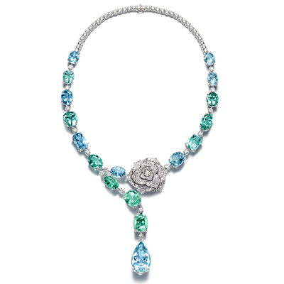 Piaget necklace with tourmalines, aquamarines and diamonds, in 18-carat white gold