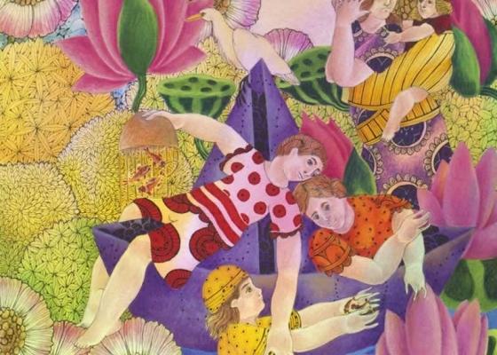 "MAYA BURMAN, 'PICNIC BY THE LAKE – 1′, WATERCOLOUR , PEN & INK ON PAPER, 10"" X 10"", 2013"
