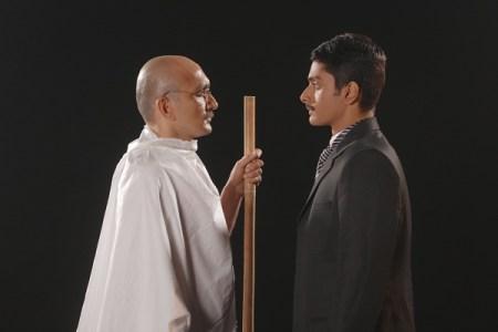 Chirag Vora and Abhishek Krishnan as the older and younger versions of Mahatma Gandhi