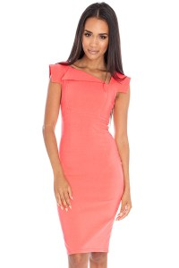 Vestry | The Asymmetric Fitted Dress in Coral