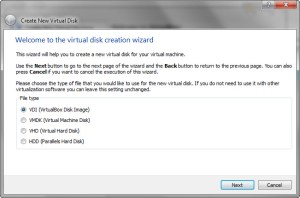 Virtual disk creation wizard will start. You can choose VDI (the default)