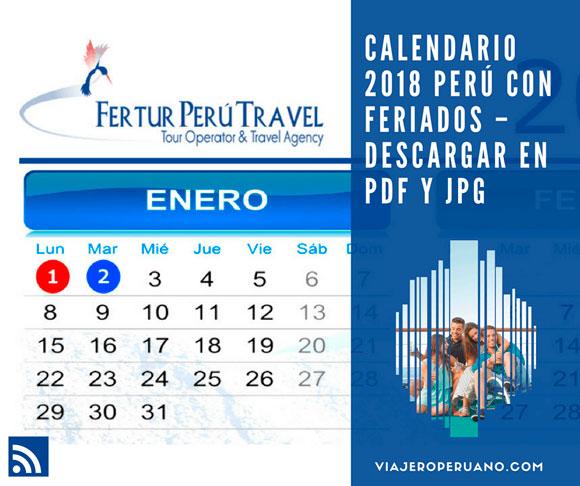 Calendario 2018 Perú con feriados - Descargar en PDF y JPG
