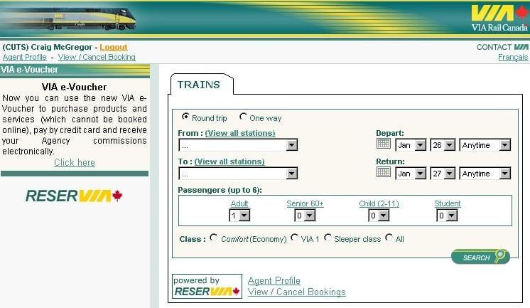 Creating an e-Voucher VIA Rail - creating a voucher