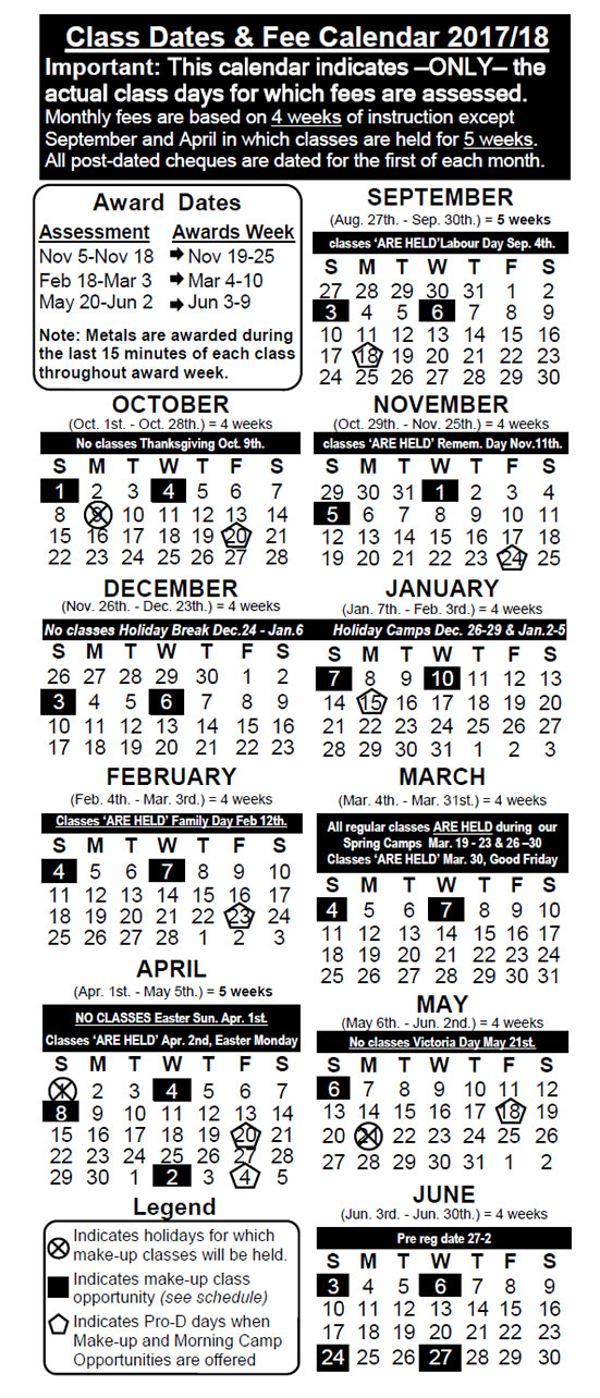 2017/2018 Class Dates - Victoria Gymnastics