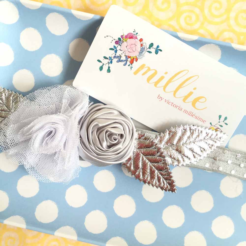 Jackie Silver Flower Girl Headband