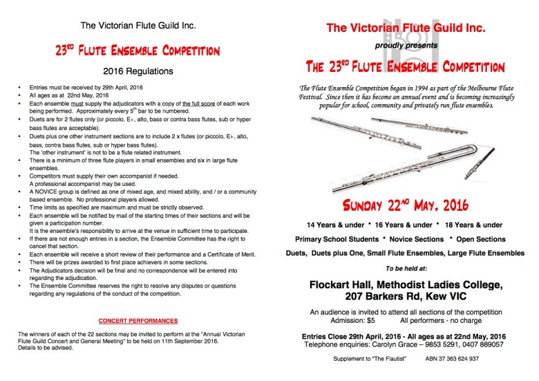 VFG Flute Ensemble Competition form 2016