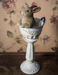 BUNNY IN TEACUP PEDESTAL