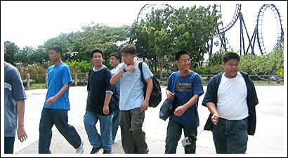 Joseph, Rychus, Jona, Cid, John Asprer, Rene walking after lunch