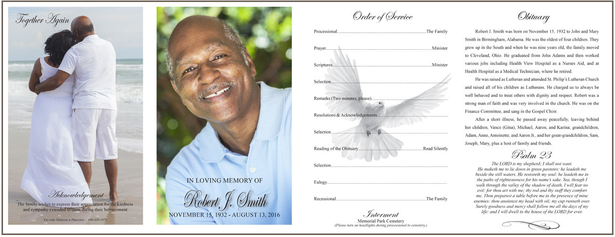 Funeral Programs - Victory Designs \ Printing - program for a funeral