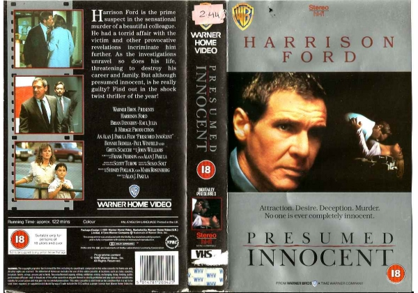 Presumed Innocent (1990)on Warner Home Video (United Kingdom Betamax - presumed innocent movie