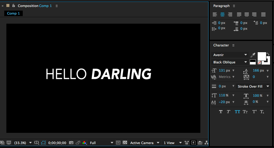 after effects text