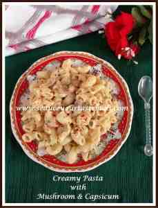 creamy pasta with mushroom and capsicum 1