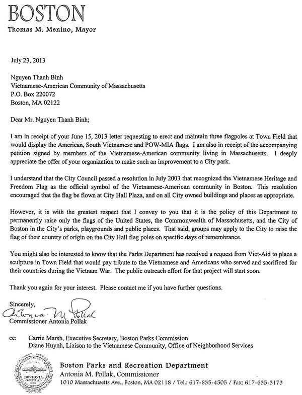 Letter to Nguyen Thanh Binh from the Boston Parks  Recreation