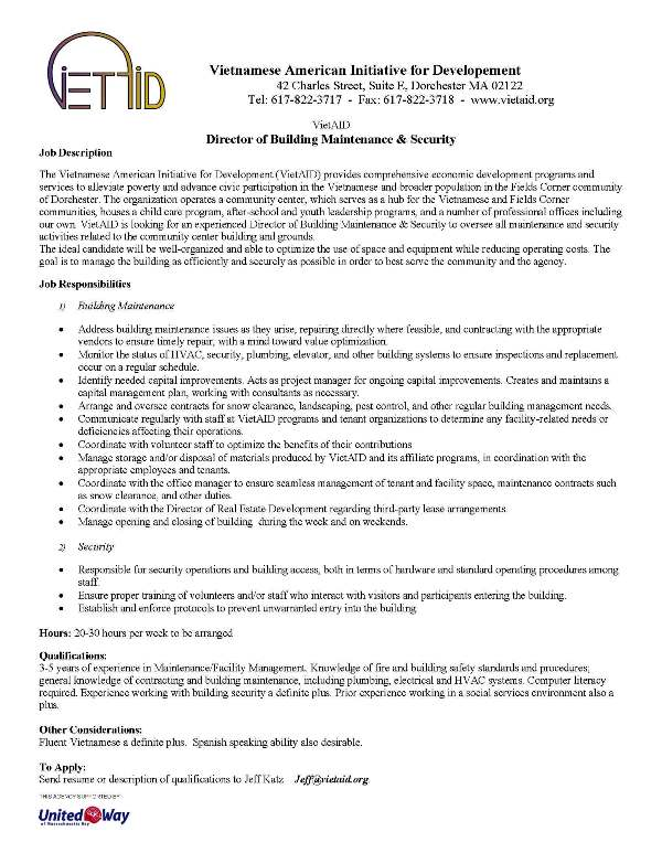Wanted VietAID Director of Building Maintenance \ Security u2013 VietAID - maintenance director job description