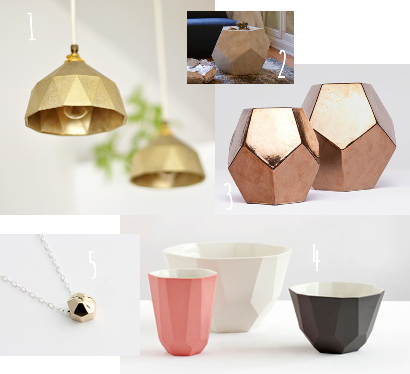 Facets and dodecahedron trend in home decor