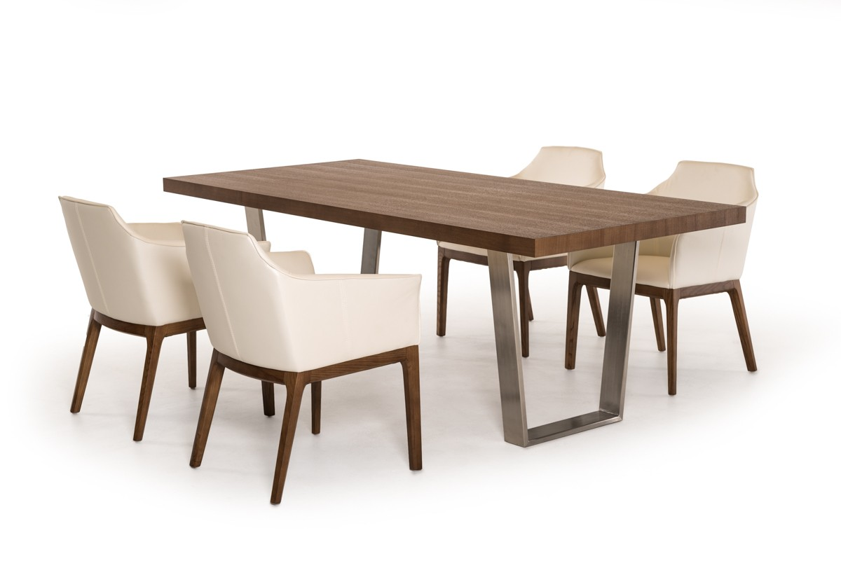 Modrest byron modern walnut stainless steel dining table