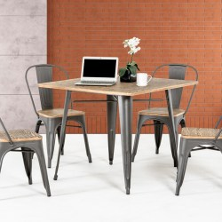 T 14005 Modern Grey Metal and Wood Square Dining Table