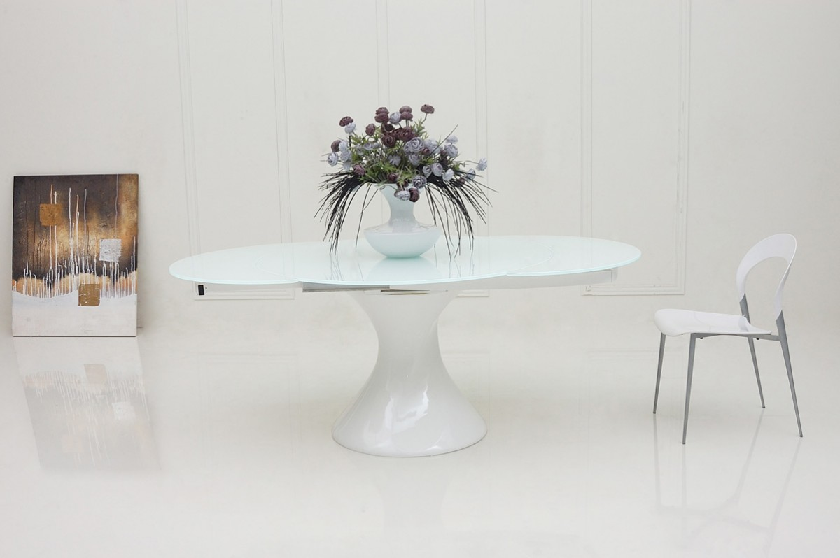 Modrest savor modern round white lacquer dining table