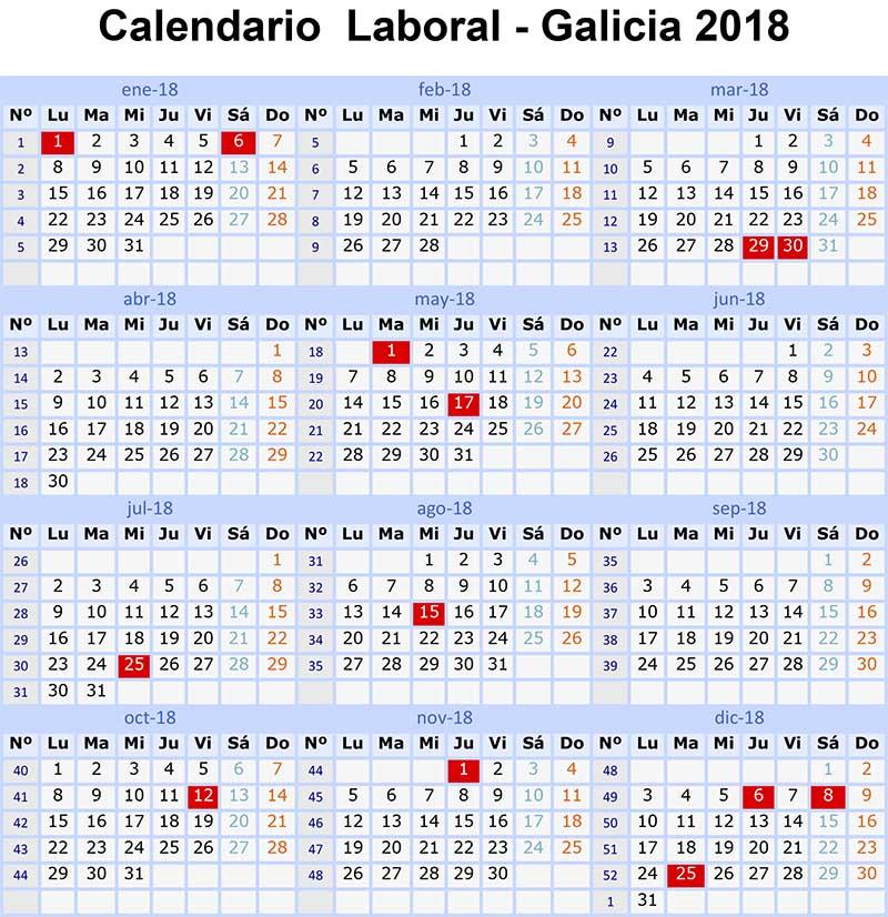 Calendario Laboral 2018 Galicia y son 15 festivos - Vigopeques