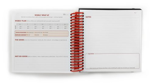 Fitlosophy Fitbook Fitness Planner and Food Journal, White Single