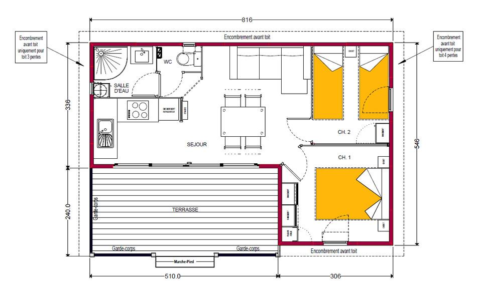 delightful plan chalet en bois 7 plan de chalet ou maison bois homeezy. Black Bedroom Furniture Sets. Home Design Ideas