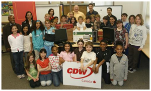 Last year's (2008) Runner-Up Story Contest winner Jay Major (Northern Lights Elementary) with students and officials
