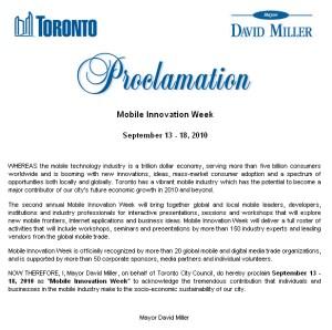 Mobile Innovation Week Proclamation