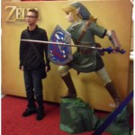 Photo booth with Link's statue