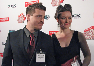 The voice of Adam Jensen, Elias Toufexis and his lovely wife Michelle Boback, the voice of Megan Reed - Deus Ex Human Revolution