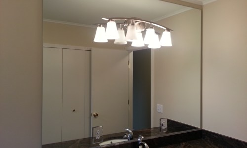 Bathroom Mirror with Hole for Light Fixture