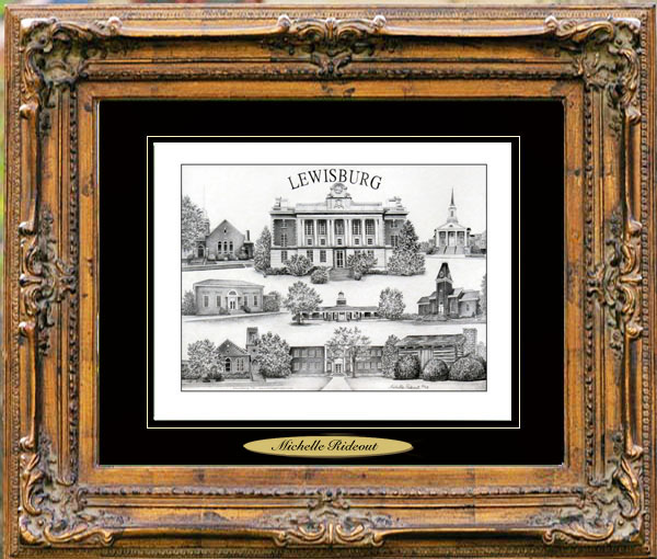 Pencil Drawing of Lewisburg, TN