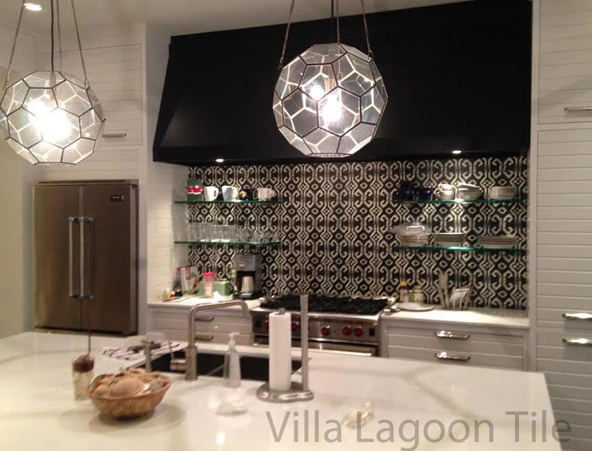 Hillip sides used our black and white ikat tile above for this