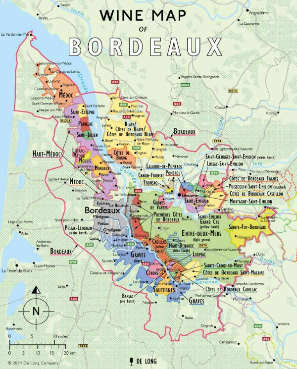 A free wine map of Bordeaux