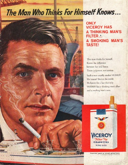 Marlboro Wallpaper Hd 1958 Viceroy Cigarettes Vintage Ad Quot The Man Who Thinks Quot