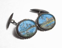 Antike Jugendstil Karibik-Manschettenknoepfe, Silber m ...