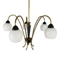 Italian 5 light pendant chandelier, 1950s | #1224