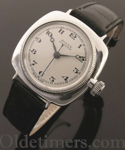 1920s early silver cushion vintage Rolex Oyster watch with 'centre sweep' seconds