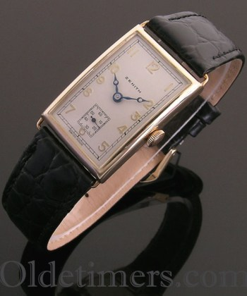 1930s 9ct gold rectangular vintage Zenith watch