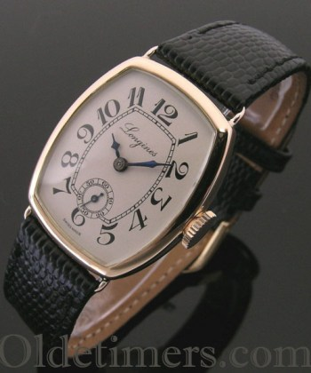 1913 rare 14ct rose gold tonneau vintage Longines watch