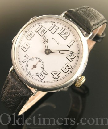 1916 rare early round silver vintage Rolex 'Officers' watch