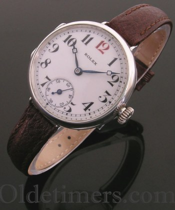 1916 silver round vintage Rolex 'Officers' watch