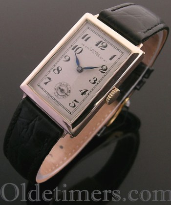 1930s 9ct rose gold rectangular vintage F. Dixon watch