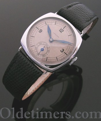 1930s steel cushion vintage Longines watch