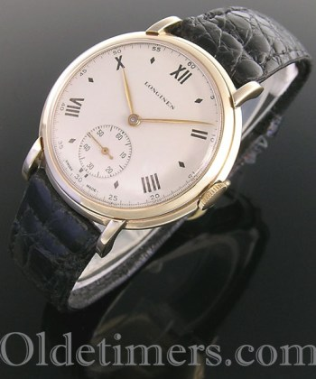 1950s 9ct gold large round vintage Longines watch